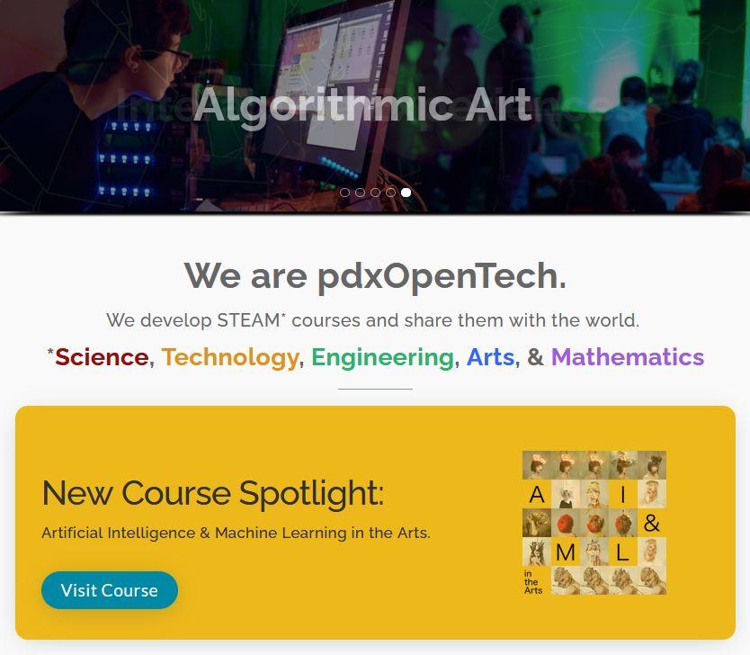 pdxOpenTech Front Page Screenshot